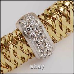 RDC11319 Authentic Roberto Coin 18K Gold/Diamond Flex Bracelet withRuby Back