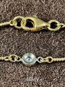 ROBERTO COIN 16 18K YellowithWhite Gold 7 Station Diamond Dog Bone Necklace