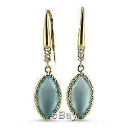 ROBERTO COIN 18KT Yellow Gold Ipanema Blue Topaz Drop Earrings (367229AYERXB)
