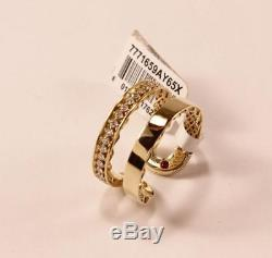 ROBERTO COIN 18K GOLD DIAMOND DOUBLE BAND SYMPHONY GOLDEN GATE CUFF RING Sz 6.5