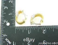 ROBERTO COIN 18K ITALY Two Tone Gold Ruby Pave Diamond Basket Weave Earrings