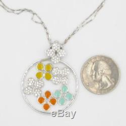 ROBERTO COIN 18K Pave Diamond Enamel Flower / Floral NECKLACE adj length