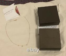 ROBERTO COIN 18K Rose GOLD CHAIN 3-STATION DIAMOND DANGLE NECKLACE