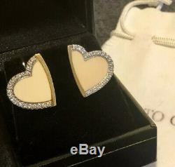 ROBERTO COIN 18K Vintage Gold 0.40ct Diamond & Cream Enamel Heart Earrings RARE