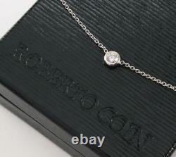 ROBERTO COIN 18K WHITE GOLD DIAMOND 0.5ctw SOLITAIRE BEZEL SET NECKLACE PENDANT