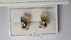ROBERTO COIN 18K YELLOW AND WHITE GOLD HOOP POST WITH OMEGA LOCK EARRINGS 9.6 gr