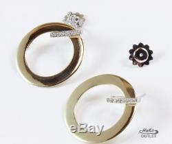 ROBERTO COIN 18K YELLOWithWHITE GOLD DIAMOND ROUND DANGLE HOOP EARRINGS