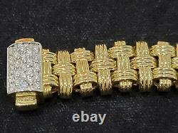 ROBERTO COIN 18K Yellow Gold Appassionata Bracelet With Pave Diamond Clasp