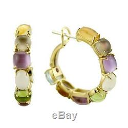 ROBERTO COIN 18K Yellow Gold Shanghai Multi-Gem Hoop Earrings (8881386AYERJ)