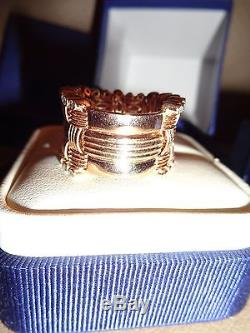 ROBERTO COIN 18k ROSE GOLD DIAMOND EDGE MESH APPASSIONATA RING sz 6.25