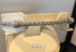ROBERTO COIN 18k White GOLD. 15 ct DIAMOND Spiga Two Station Bangle Bracelet