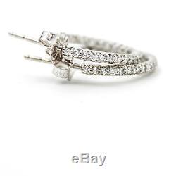 ROBERTO COIN 18k White Gold Diamond Inside Out Hoop Earrings Petite
