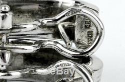 ROBERTO COIN 18k White Gold Pinstripe J-Hoop Omega Back Earrings 6.6 GRAMS