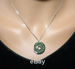 ROBERTO COIN 18k White Gold Tsavorite Garnet & Diamond SWIRL PENDANT NWB A WOW