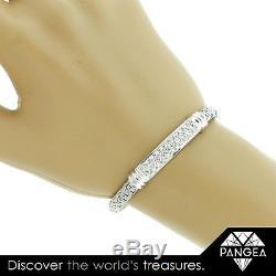 ROBERTO COIN 18k White Gold Woven Silk 1.46ctw Pave Diamond Bar Bracelet 7.25