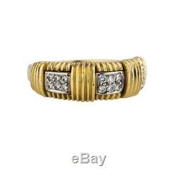 ROBERTO COIN 18k YELLOW GOLD APPASSIONATA DIAMOND RING ND BASKET WEAVE SZ 5.5