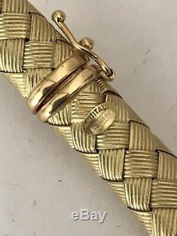 ROBERTO COIN 18k YELLOW GOLD & DIAMOND SILK WEAVE WOVEN NECKLACE 39g Grams