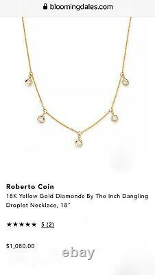 ROBERTO COIN 18kt Yellow Gold Dangle DIAMOND Drop NECKLACE 16/18-inch RET $1080