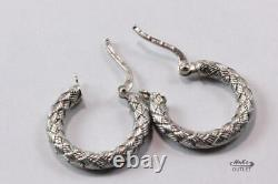 ROBERTO COIN APPASTIONATA 18K WHITE GOLD BRAIDED ROUND HOOP EARRINGS 21.23mm