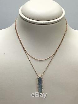 ROBERTO COIN Art Deco NECKLACE MOP DIAMOND 18K Pink Rose Gold 31-Retail $2900
