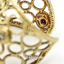 ROBERTO COIN Bollicine Cuff Ring with Diamonds in 18k Yellow Gold, Size 6