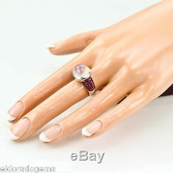ROBERTO COIN CABOCHON PINK QUARTZ & RUBY FANTASIA RING 18K WHITE GOLD size 5.75