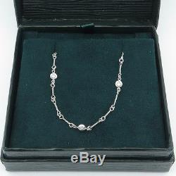 ROBERTO COIN Diamond & 18K White Gold Station Necklace 16 In Original Box
