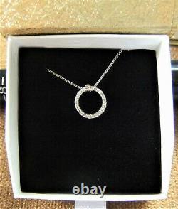 ROBERTO COIN Diamond Circle of Life Necklace 18K White Gold Pendant & Chain $700
