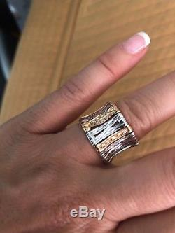 ROBERTO COIN Elephant 18 ct White and Rose Gold Dmnds Flex Ring Sz 7 MSRP $2,800