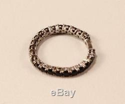 ROBERTO COIN FANTASIA 18K WHITE GOLD DIAMOND BLACK SAPPHIRE BAND RING Sz US-6.5