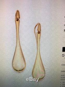 Roberto Coin Long Teardrop Earrings 18k Yellow Gold New In Box $1040 6.3 Grams