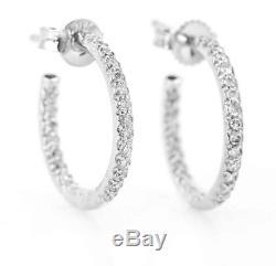 ROBERTO COIN Petite 18mm InsideOutside Diamond. 52 TCW Hoop Earrings 18k Wt Gold