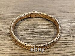 ROBERTO COIN Primavera 18K ROSE GOLD Diamond Flex woven Bangle BRACELET $3200