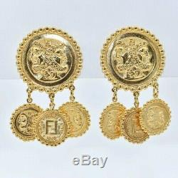 RUNWAY WORTHY! Vintage FENDI Gold Janus Face / Coin Drop Clip-On Earrings