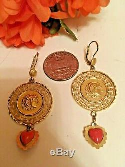 Rare 14k Gold Earrings Greek Coin Fine Jewelry 2.5 L / 7.6 g with coral stone