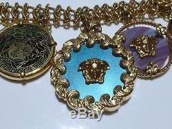 Rare $3000 Versace Italy Stone Gold Medusa Coin Medallion Charm Pendant Necklace