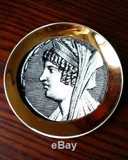 Rare 8 Pc Piero Fornasetti Monete Coaster Set, Gold Roman Coin Motif 1950s Italy