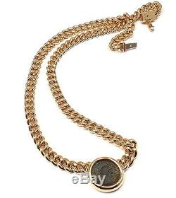 Rare! Authentic Bvlgari Bulgari 18k Yellow Gold Ancient Coin Link Necklace Cert
