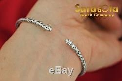 Rare Roberto Coin 18Kt White Gold Three Pave Stations Woven Silk Cuff Bracelet