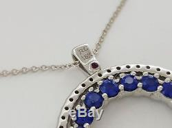 Rare Roberto Coin 3 ct 18K Gold Diamond & Sapphire Double Sided Necklace