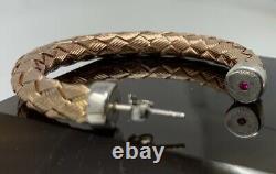 Roberto COIN Vermeil Hoop Earrings Weave Sterling Silver Rose Gold Wash