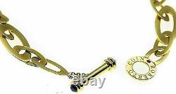 Roberto Coin 18K 750 Gold Chic & Shine Sapphire Toggle 18 Link Necklace