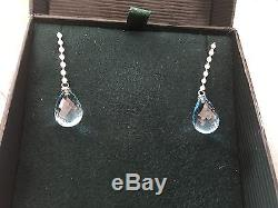 Roberto Coin 18K Diamond & Blue Topaz Drop Earrings