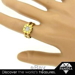 Roberto Coin 18K Gold & Pave Diamond Square Pois Moi Ring Size 6.25