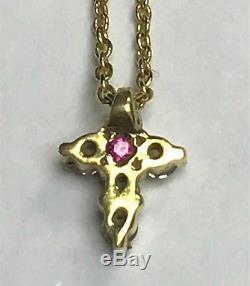Roberto Coin 18K Gold Tiny Treasures Diamond Ruby Baby Cross Necklace