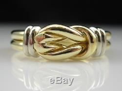 Roberto Coin 18K Knot Ring Double Row Yellow White Fine Designer Two-Tone Size 7