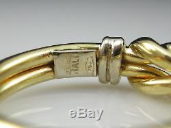Roberto Coin 18K Knot Ring Double Row Yellow White Fine Designer Two-Tone Size 7