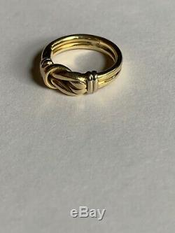 Roberto Coin 18K Knot Ring Double Row Yellow White Gold Solid Size 4.25 Pinky