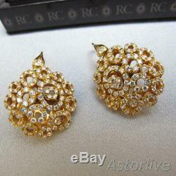 Roberto Coin 18K Rose Gold Mauresque Diamond Open Circle Pierced Earrings #A212