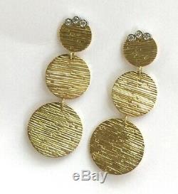 Roberto Coin 18K Triple Disc Elephantino 0.12 cttw Diamond Dangle Earrings Ruby